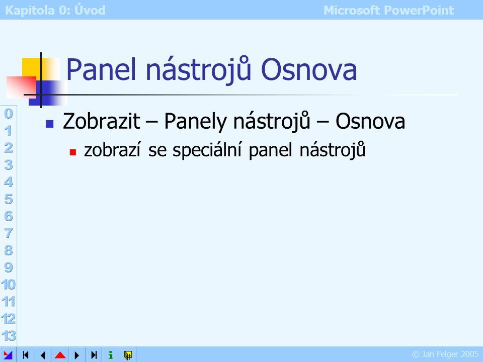 Panel nástrojů Osnova Zobrazit – Panely nástrojů – Osnova