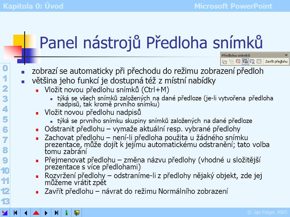 Panel nástrojů Předloha snímků
