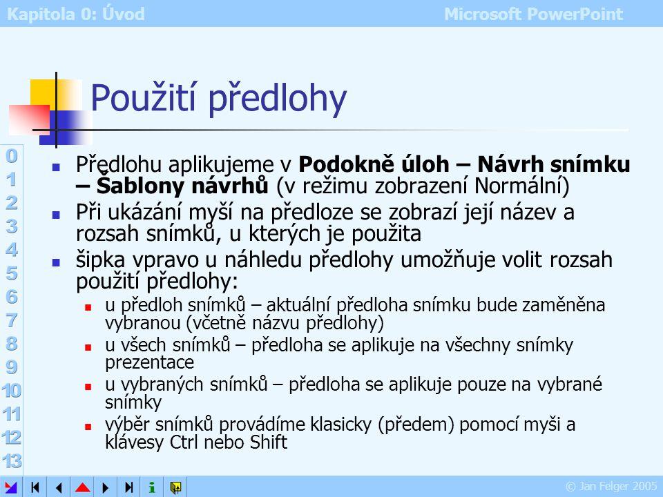 Použití předlohy Předlohu aplikujeme v Podokně úloh – Návrh snímku – Šablony návrhů (v režimu zobrazení Normální)