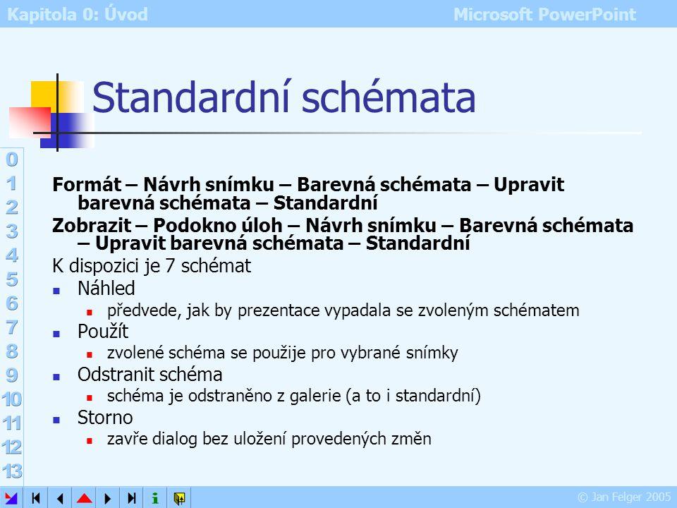 Standardní schémata Formát – Návrh snímku – Barevná schémata – Upravit barevná schémata – Standardní.