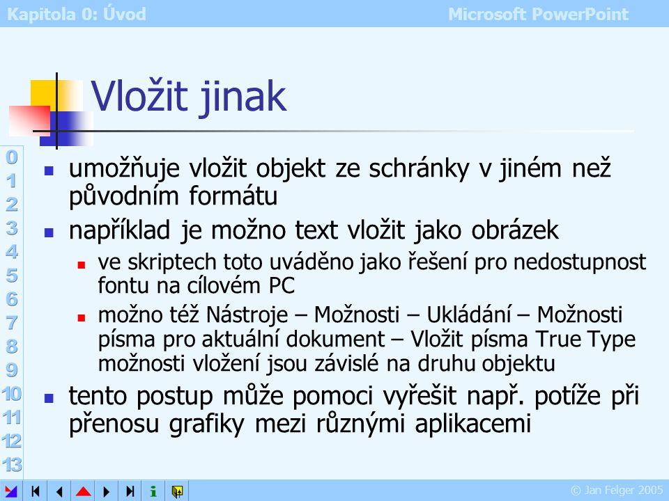 Vložit jinak umožňuje vložit objekt ze schránky v jiném než původním formátu. například je možno text vložit jako obrázek.