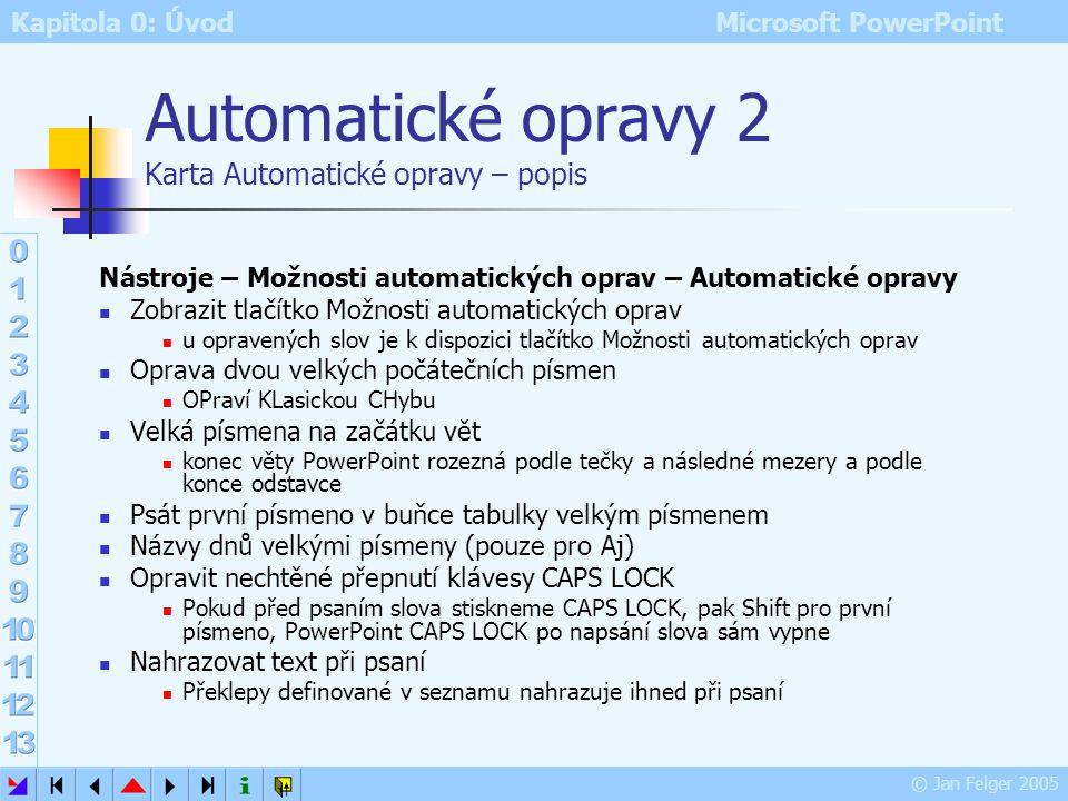 Automatické opravy 2 Karta Automatické opravy – popis