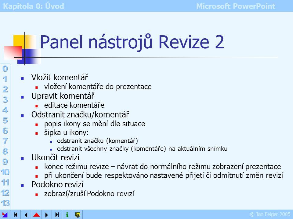 Panel nástrojů Revize 2 Vložit komentář Upravit komentář