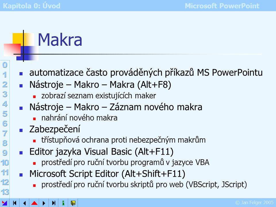 Makra automatizace často prováděných příkazů MS PowerPointu
