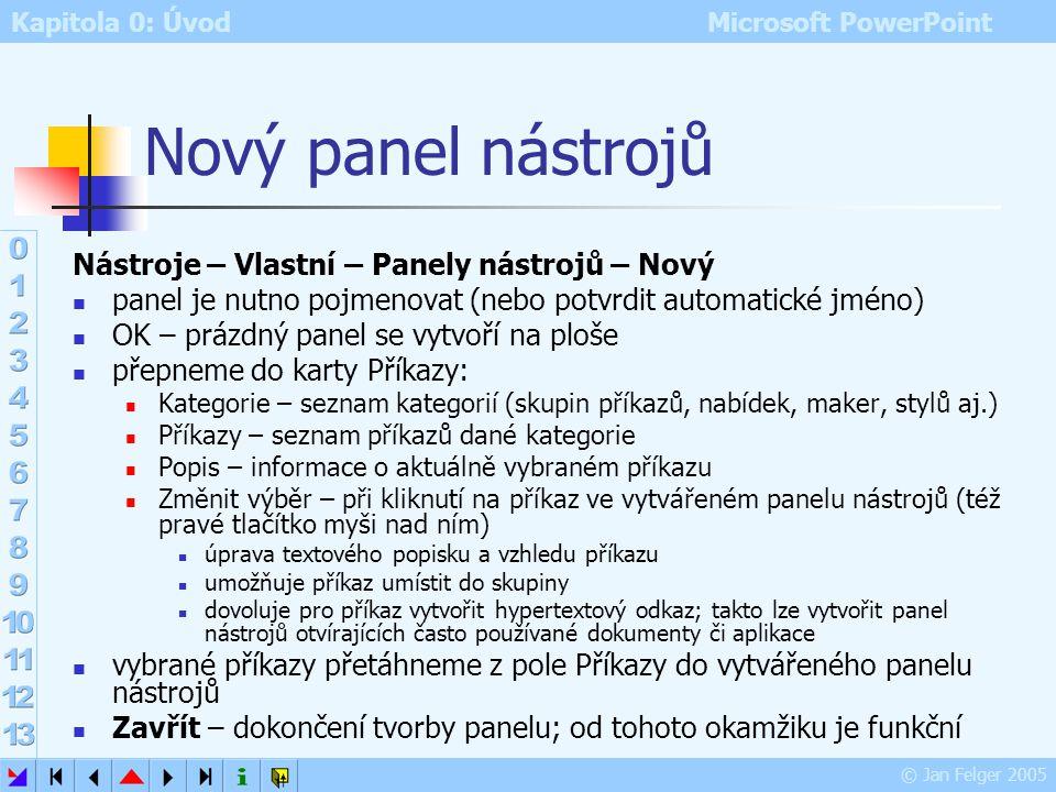 Nový panel nástrojů Nástroje – Vlastní – Panely nástrojů – Nový