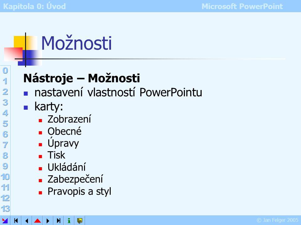 Možnosti Nástroje – Možnosti nastavení vlastností PowerPointu karty: