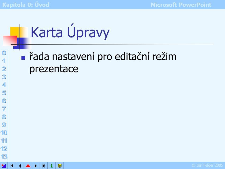 Karta Úpravy řada nastavení pro editační režim prezentace