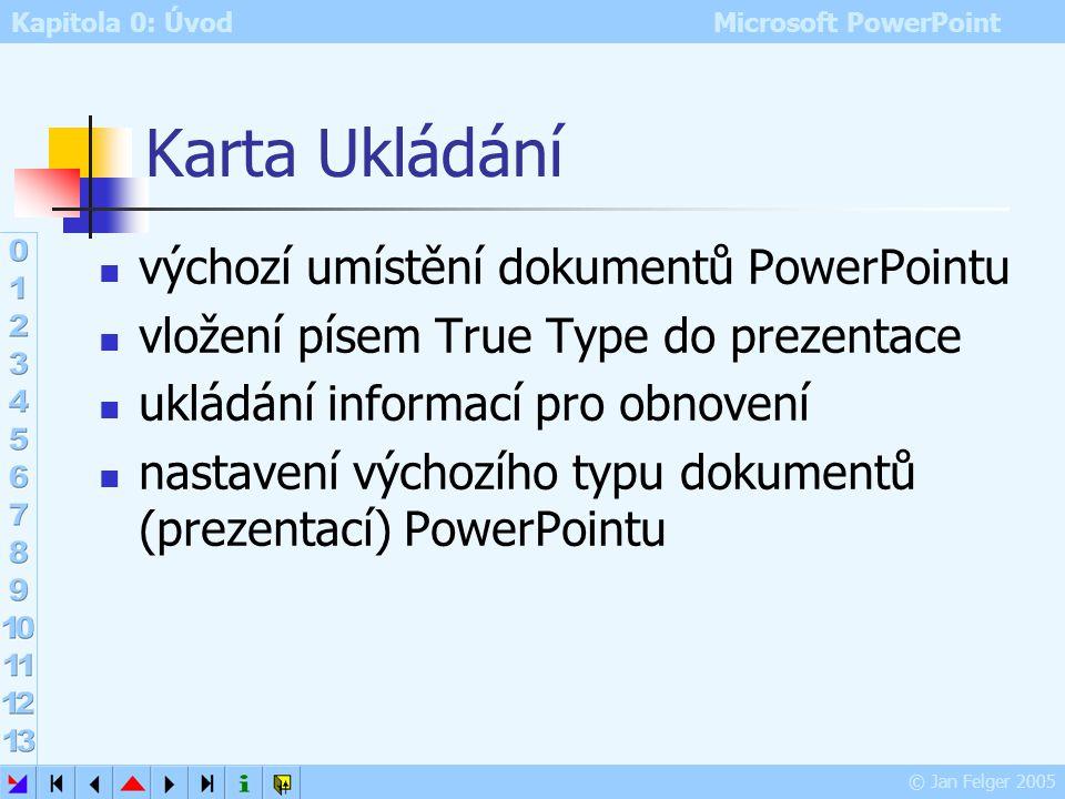 Karta Ukládání výchozí umístění dokumentů PowerPointu