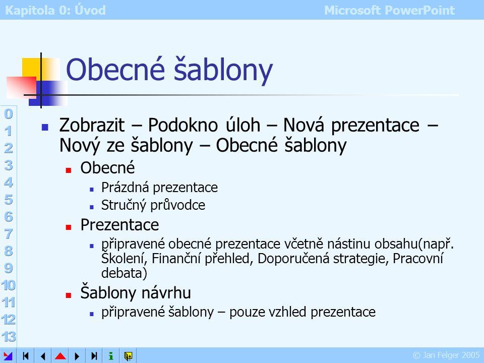 Obecné šablony Zobrazit – Podokno úloh – Nová prezentace – Nový ze šablony – Obecné šablony. Obecné.