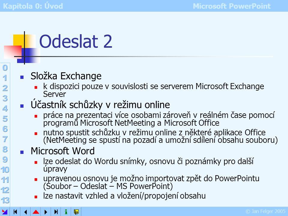 Odeslat 2 Složka Exchange Účastník schůzky v režimu online