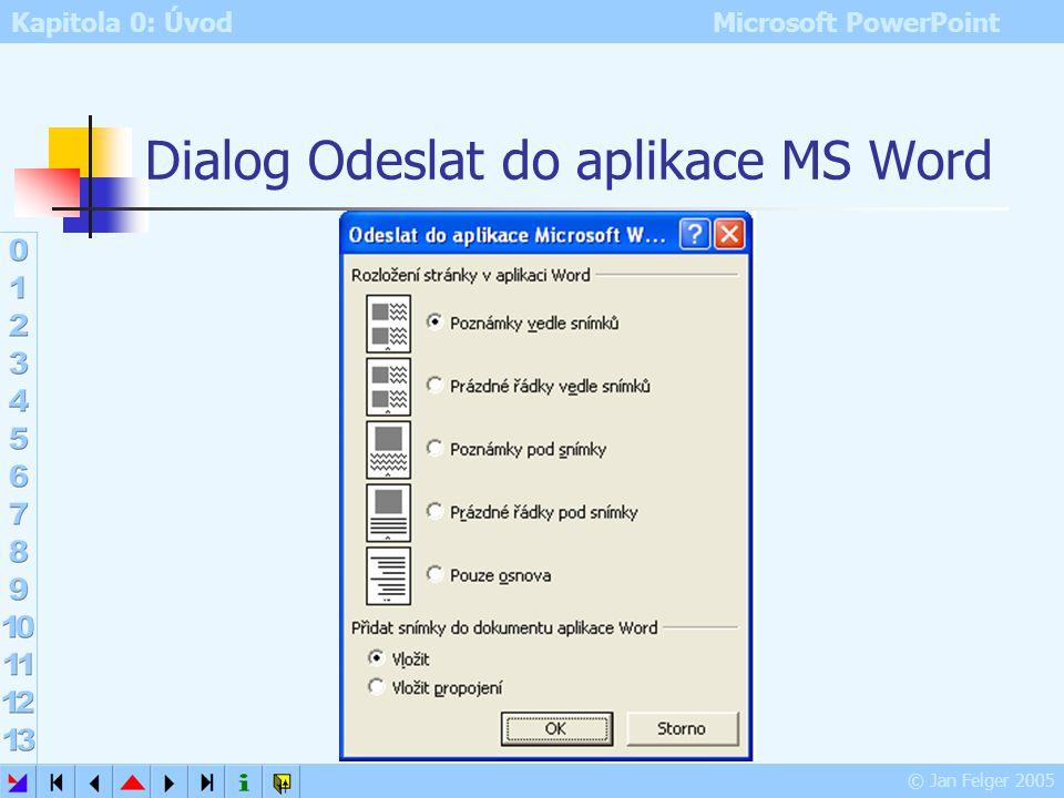 Dialog Odeslat do aplikace MS Word