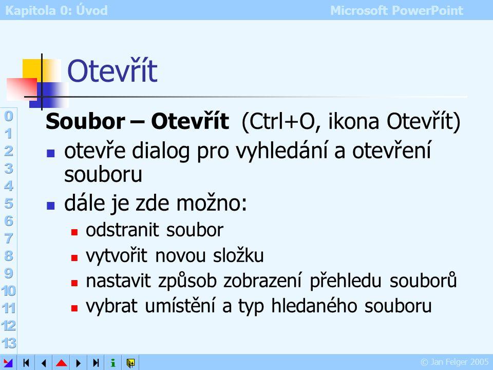 Otevřít Soubor – Otevřít (Ctrl+O, ikona Otevřít)