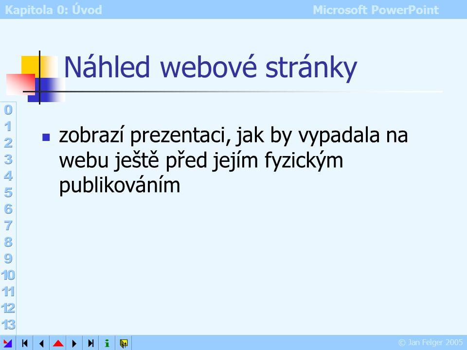 Náhled webové stránky zobrazí prezentaci, jak by vypadala na webu ještě před jejím fyzickým publikováním.