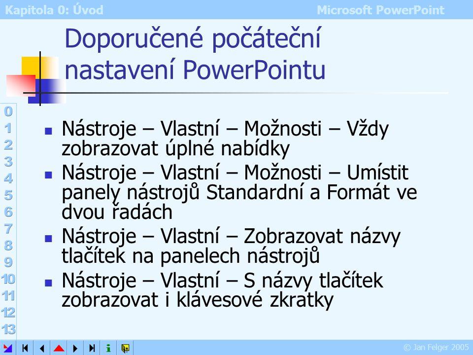 Doporučené počáteční nastavení PowerPointu