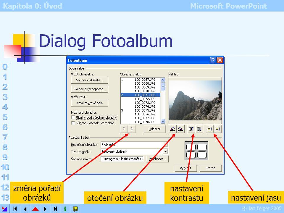 Dialog Fotoalbum změna pořadí obrázků nastavení kontrastu