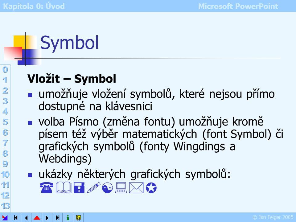 Symbol Vložit – Symbol. umožňuje vložení symbolů, které nejsou přímo dostupné na klávesnici.