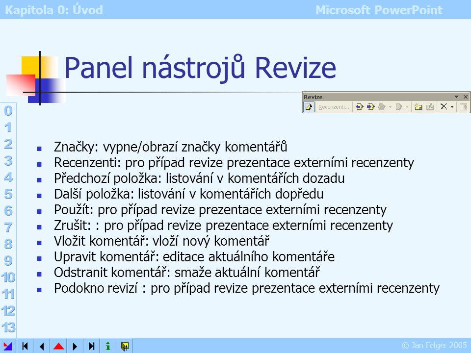 Panel nástrojů Revize Značky: vypne/obrazí značky komentářů