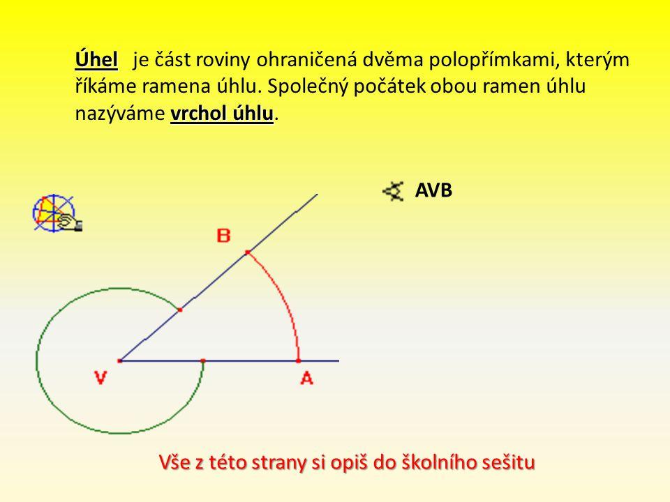 Úhel je část roviny ohraničená dvěma polopřímkami, kterým říkáme ramena úhlu. Společný počátek obou ramen úhlu nazýváme vrchol úhlu.