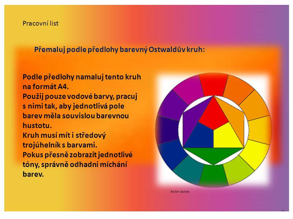Přemaluj podle předlohy barevný Ostwaldův kruh:
