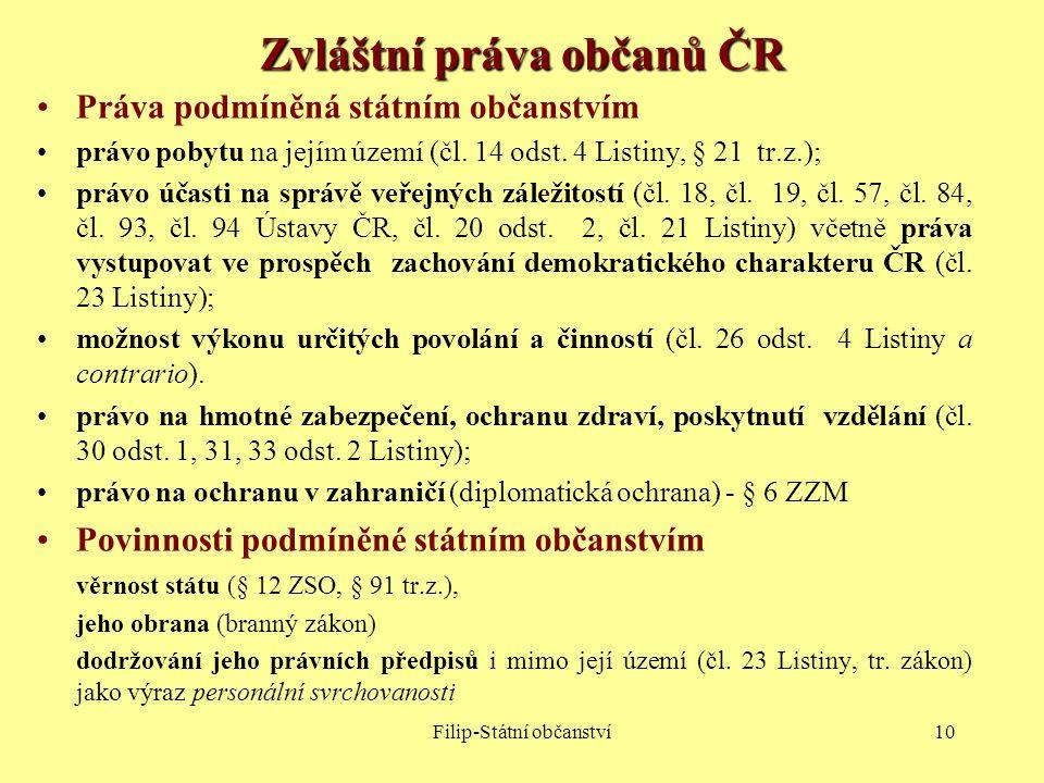 Zvláštní práva občanů ČR
