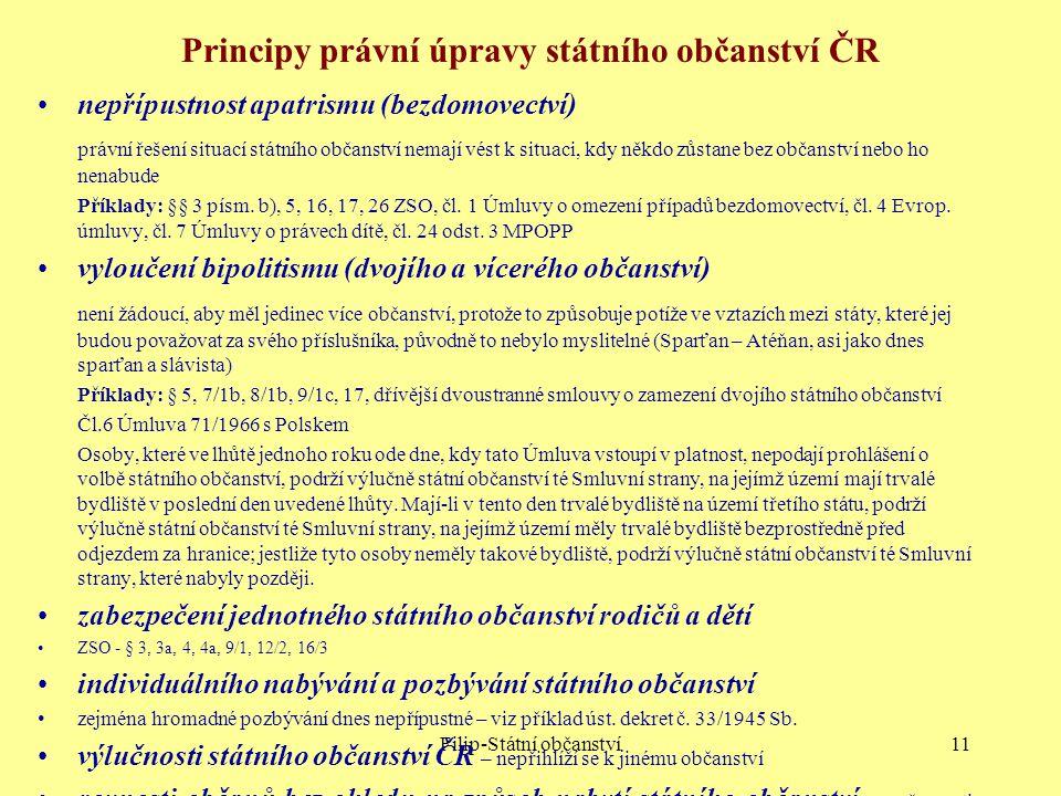 Principy právní úpravy státního občanství ČR