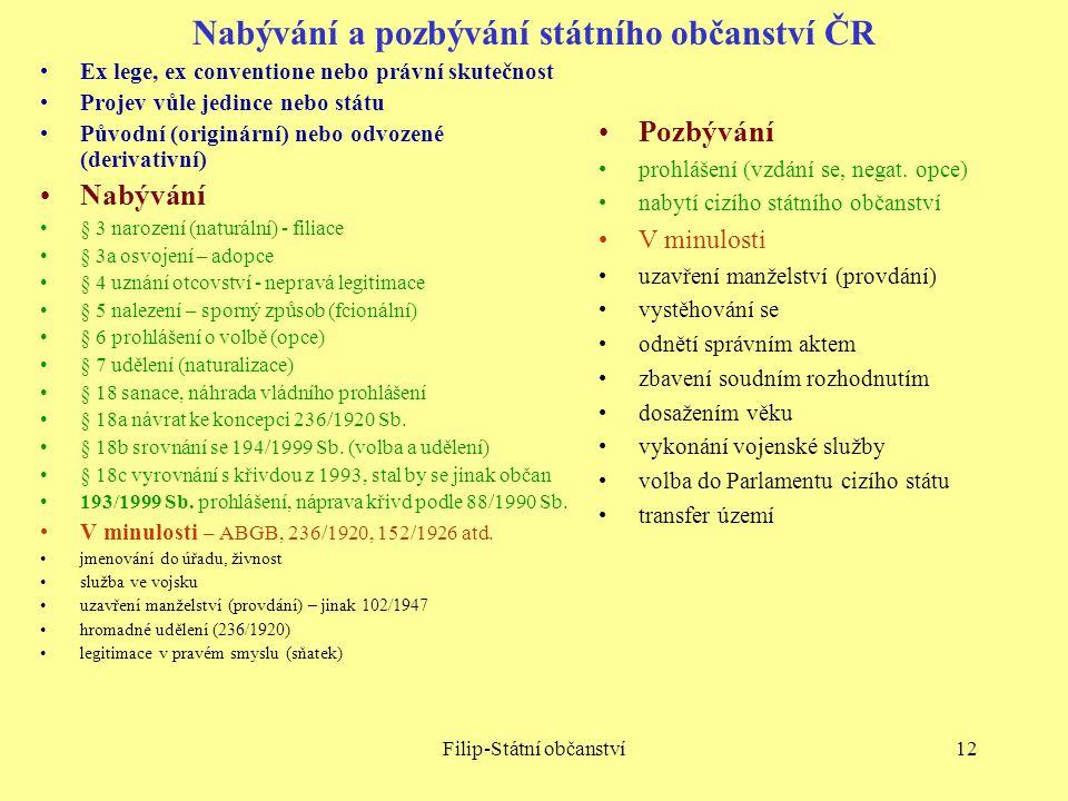 Nabývání a pozbývání státního občanství ČR
