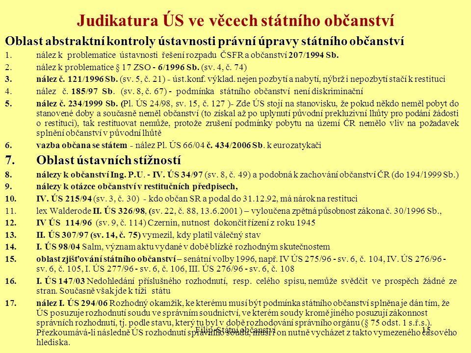 Judikatura ÚS ve věcech státního občanství