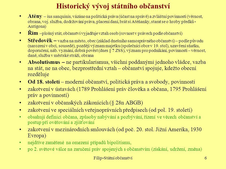 Historický vývoj státního občanství