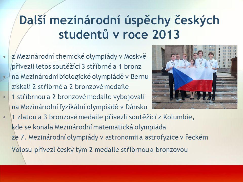 Další mezinárodní úspěchy českých studentů v roce 2013
