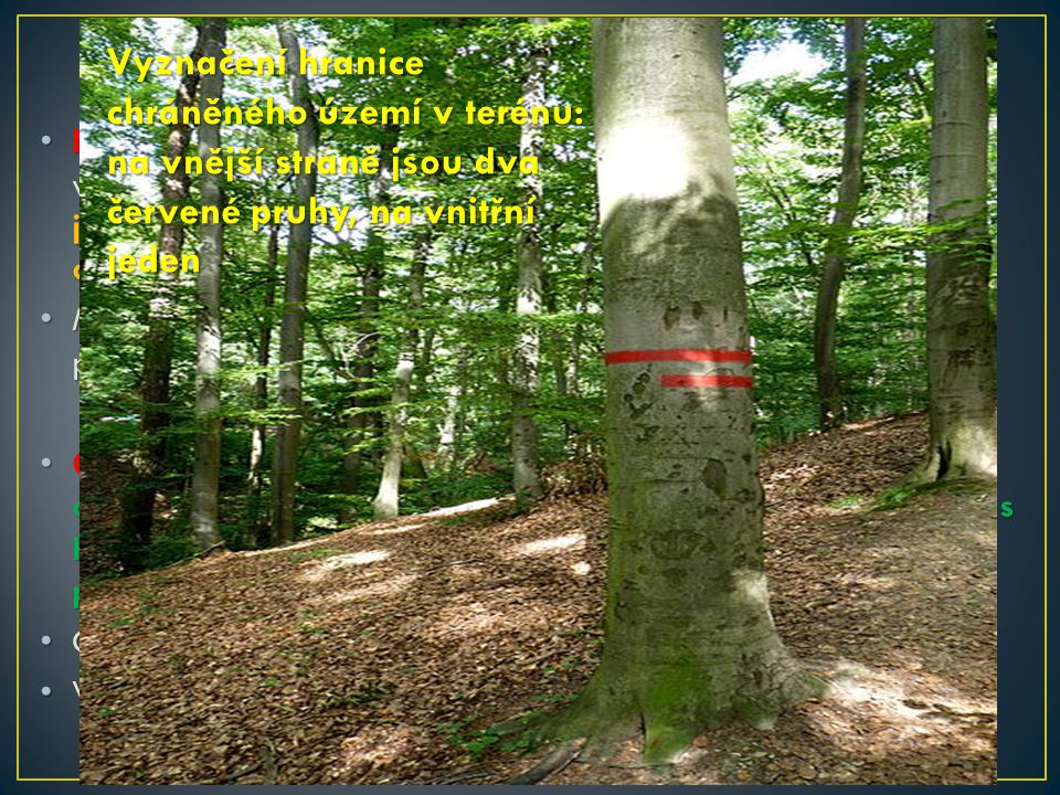 Ochrana přírody v ČR Vyznačení hranice chráněného území v terénu: na vnější straně jsou dva červené pruhy, na vnitřní jeden.