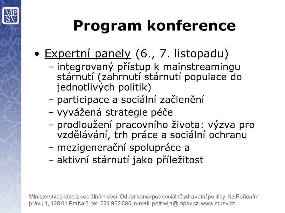 Program konference Expertní panely (6., 7. listopadu)