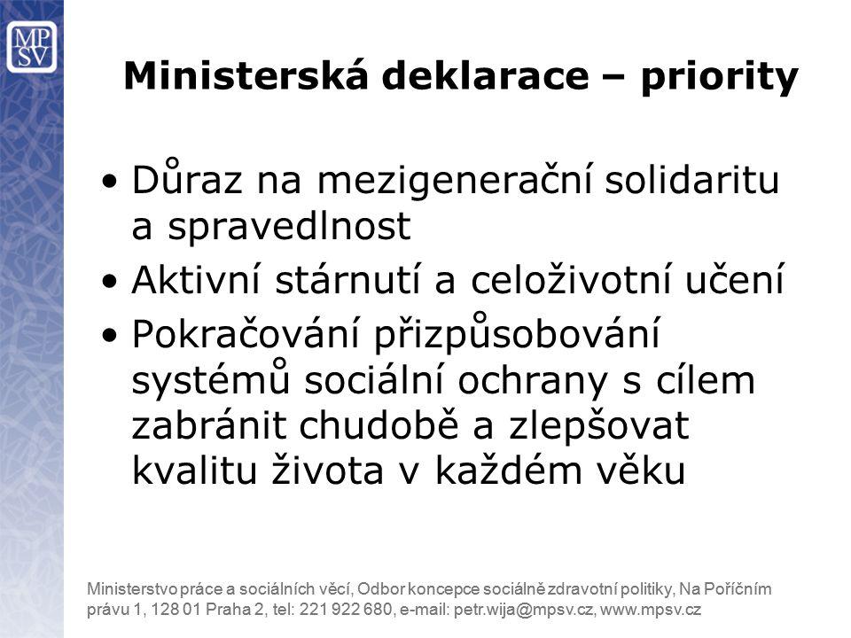 Ministerská deklarace – priority