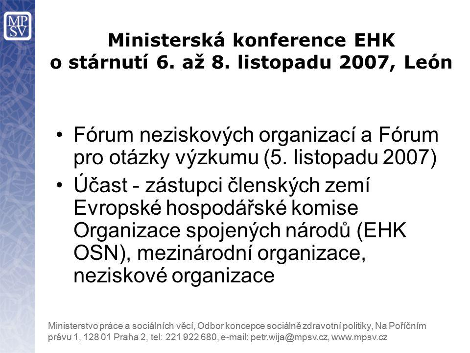 Ministerská konference EHK o stárnutí 6. až 8. listopadu 2007, León