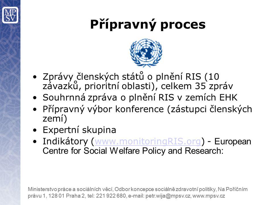 Přípravný proces Zprávy členských států o plnění RIS (10 závazků, prioritní oblasti), celkem 35 zpráv.