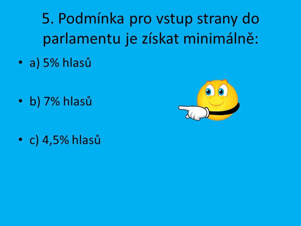5. Podmínka pro vstup strany do parlamentu je získat minimálně: