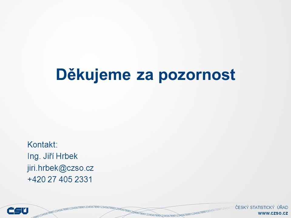 Kontakt: Ing. Jiří Hrbek jiri.hrbek@czso.cz +420 27 405 2331