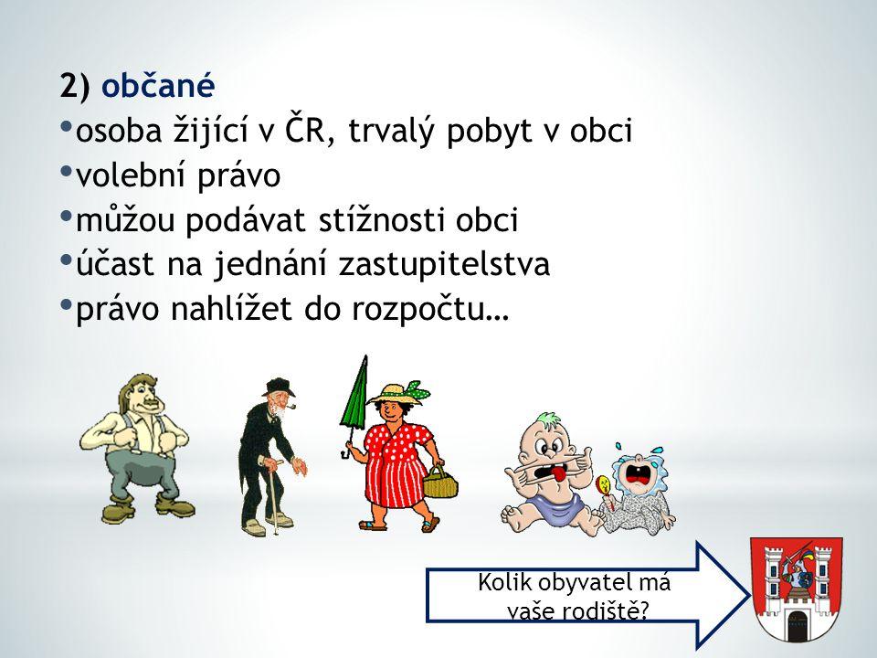 osoba žijící v ČR, trvalý pobyt v obci volební právo