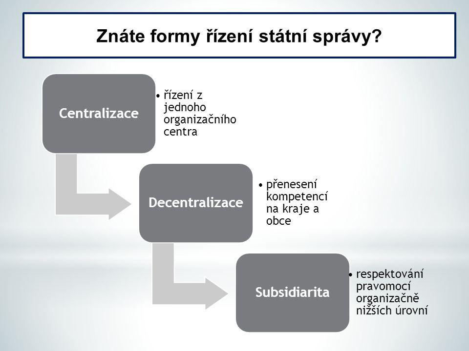 Znáte formy řízení státní správy
