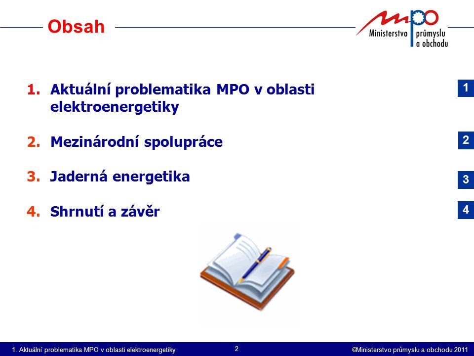 Obsah Aktuální problematika MPO v oblasti elektroenergetiky