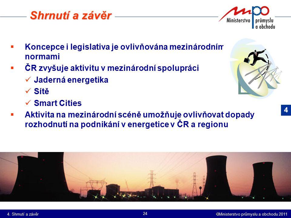 Shrnutí a závěr Koncepce i legislativa je ovlivňována mezinárodními normami. ČR zvyšuje aktivitu v mezinárodní spolupráci.