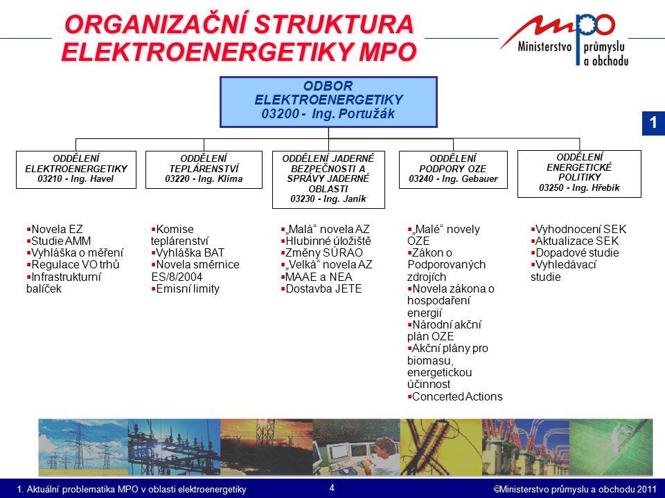 ORGANIZAČNÍ STRUKTURA ELEKTROENERGETIKY MPO