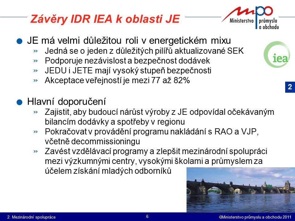 Závěry IDR IEA k oblasti JE