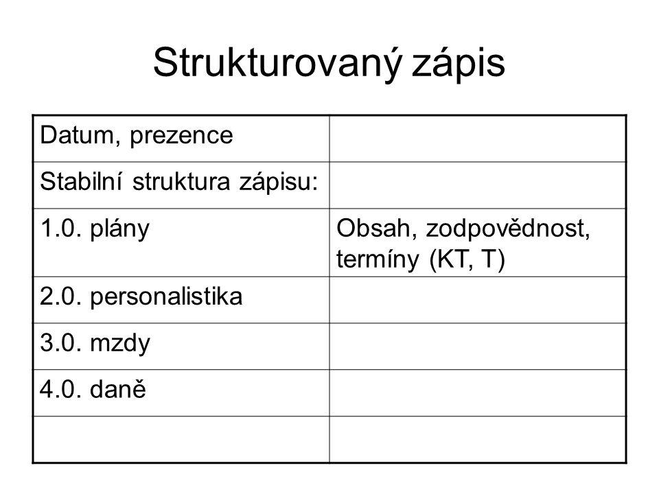 Strukturovaný zápis Datum, prezence Stabilní struktura zápisu: