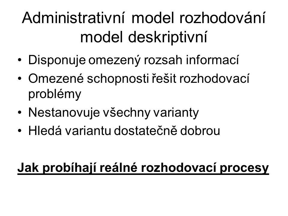 Administrativní model rozhodování model deskriptivní
