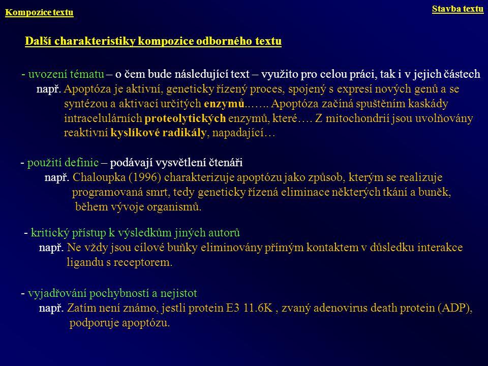 Další charakteristiky kompozice odborného textu