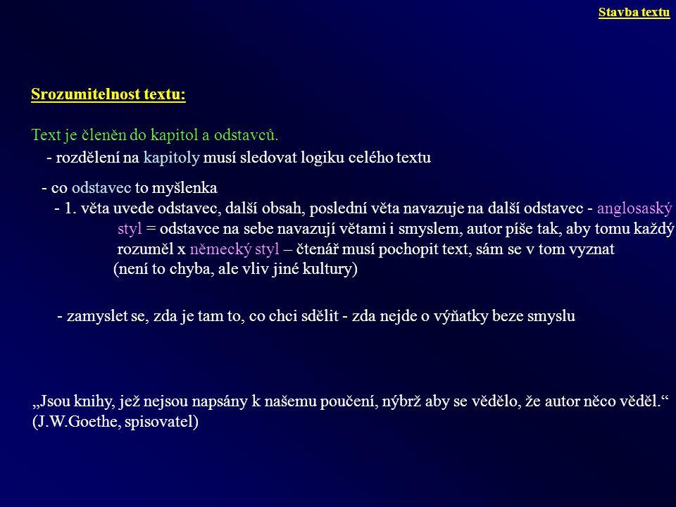 Srozumitelnost textu: Text je členěn do kapitol a odstavců.