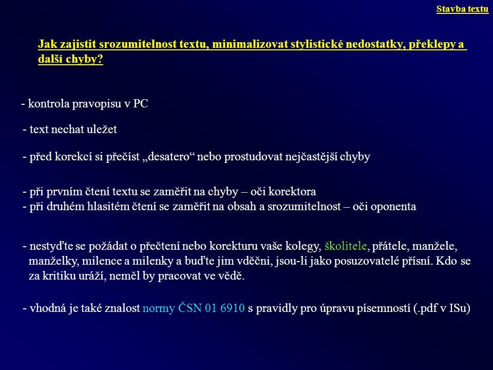 - kontrola pravopisu v PC