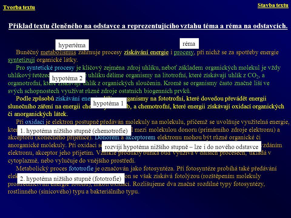 Stavba textu Tvorba textu. Příklad textu členěného na odstavce a reprezentujícího vztahu téma a réma na odstavcích.