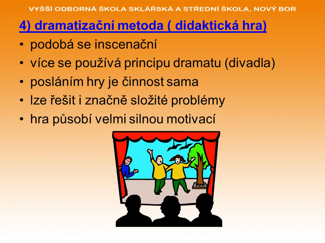 4) dramatizační metoda ( didaktická hra)