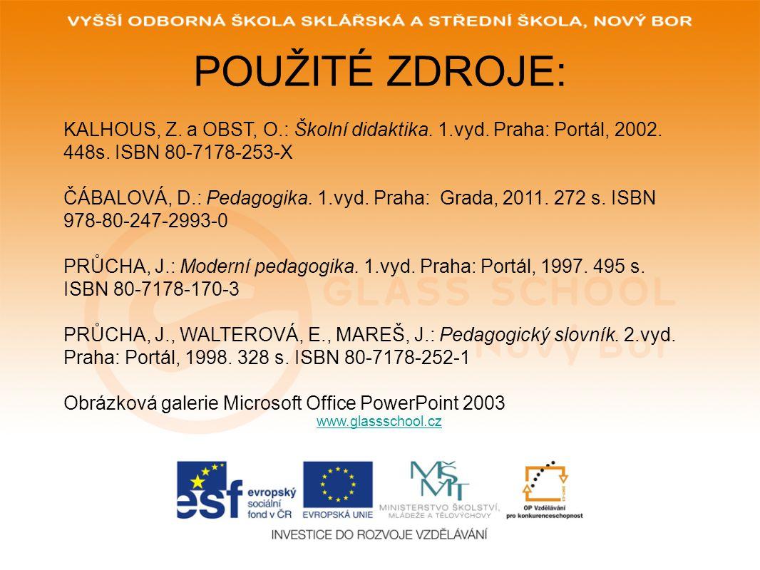 POUŽITÉ ZDROJE: KALHOUS, Z. a OBST, O.: Školní didaktika. 1.vyd. Praha: Portál, 2002. 448s. ISBN 80-7178-253-X.